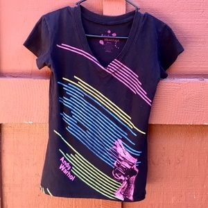 Andy Warhol neon v-neck t-shirt. Size small